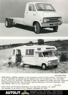 1976 Dodge MB400 Truck & Mini Motorhome Factory Photo