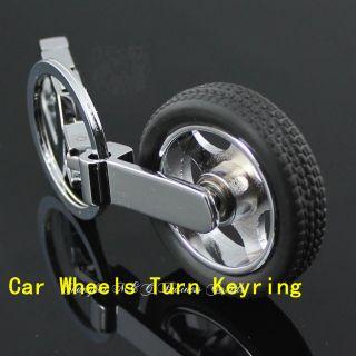 Creativity Rotation Tire Car Auto LOGO Wheels Keyrings /KeyFob Alloy
