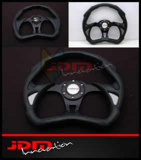 350mm Universal JDM PVC Leather Black/Silver Jet Racing Steering Wheel