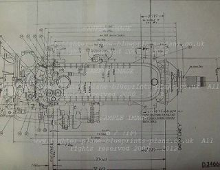 ROLLS ROYCE MERLIN AERO ENGINE PLAN BLUEPRINTS RARE WWII Dh Mosquito