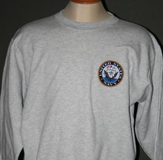 US NAVY SWEATSHIRT INSIGNIA   ASH GREY HEATHER   NEW