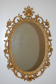 Vintage Ornate Gold/Brass 8.6 lb.Homco 2037 Syroco Oval Wall Mirror
