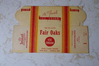 Old Vintage Ad Dairy Fair Oaks Ice Cream Pint Box Container Whitehall