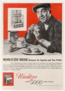 1966 Wurlitzer 3000 stereo console jukebox vintage trade print ad