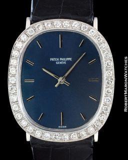 PATEK PHILIPPE ELLIPSE 18K WHITE GOLD DIAMOND BEZEL RARE MODEL