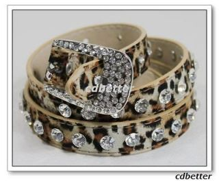 Fashion Leopard Print Suede Like Bling Rhinestone Decor Buckle Belts