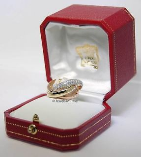 Cartier Trinity Ring Size 54 18k Tri Gold With Diamonds In Box JEWELS