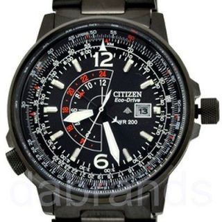 New Citizen Black Promaster Eco Drive Pilot Stainless Steel Watch