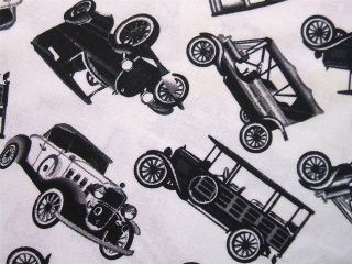 Mini Classic Antique Cars Retro Black White Timeless Treasures Fabric