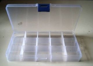 CLEAR PLASTIC TACKLE BOX w/ 15 COMPARTMENT Fly Fising LURE Tool Case