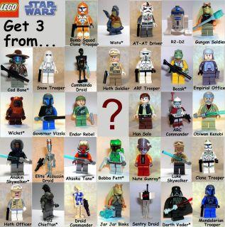 LEGO Star Wars lot of 3 minifig SITH JEDI DROID CLONE