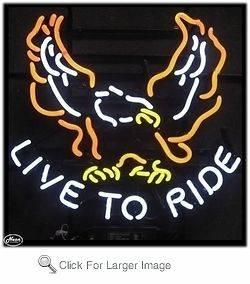 Live To Ride Neon Sign, Bike, Motorcycle, Harley, Yamaha, Chopper, Hot