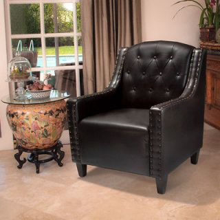 Set of 2 Luxury Tufted Back Espresso Leather Upholstered Club Chairs