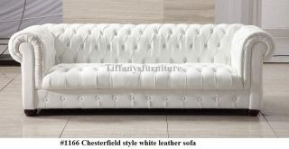 Gorgeous Chesterfield Style Modern White Leather Sofa #1166