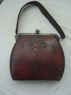VTG Edwardian Tooled Leather Purse Art Deco Nouveau antique Arts
