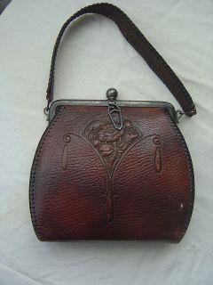 VTG Edwardian Tooled Leather Purse Art Deco Nouveau antique Arts