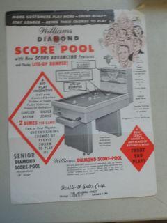 Vintage Williams Diamond Score Pool Coin Operated Brochure