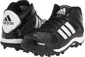 adidas Destroy MD J Mid Youth Kids Football Cleats Black White Silver