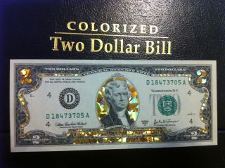 TWO$  22 K GOLD $ 2 DOLLAR BILL HOLOGRAM COLORIZED LEGAL NOTE  GOLD