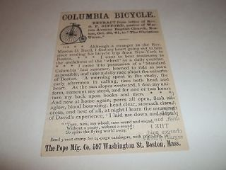 1882 COLUMBIA HIGH WHEEL BICYCLE CYCLE ART POPE MFG BOSTON MA ANTIQUE