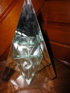 Vintage Beveled Glass & Mirror/Mirrored Oil Lamp Pentagon Iridescent