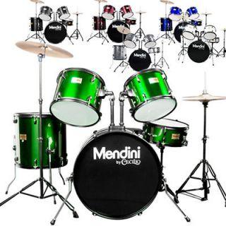Mendini Full Size 5 Pcs Adult Drum Set +Cymbal Green Black Blue Red