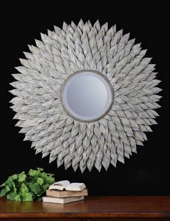 Luxury Extra Large Silver Sunburst Wall Mirror XL Oversize Neiman