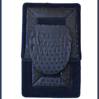 NAVY 3 Piece Bathroom RugMat SETBath Mat,Contour Rug,Toilet Seat Lid