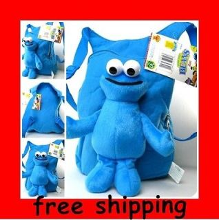 NEW Plush Sesame Street Cookie Monster doll Backpack bag / tote Free