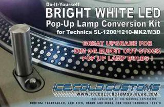 .Customs/ WHITE Pop Up Lamp LED Conversion Technics 1200/1210 MK2,M3D