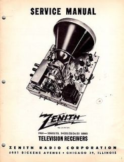 Zenith Porthole TV ORIGINAL Factory Service Manual 23G22/23, 24G22/23