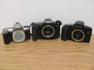 Lot Mixed Lot of 3 35mm SLR Film Cameras Canon, Nikon BODY ONLY
