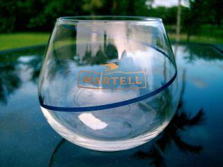 MARTELL COGNAC GLASS FLYING BIRD LOGO BLUE RIBBON AROUND GLASS 3