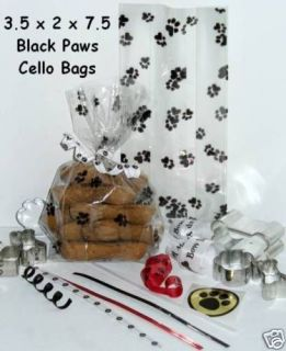 25 BLACK DOG AND CAT PAW PRINT CELLO BAGS 3.5x2x7.5