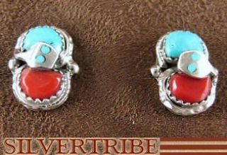 Effie Calavaza Zuni Coral & Turquoise Snake Earrings