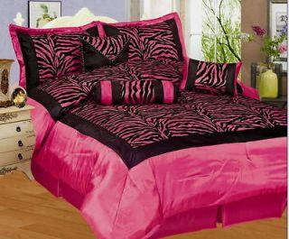 PC Zebra Flocking Black Pink Comforter Set Queen Size Bed in a Bag