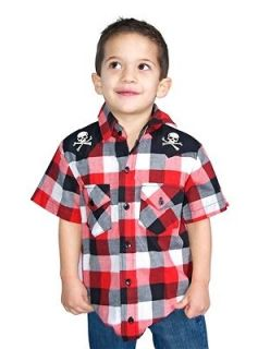 Rock Steady Clothing Boys Kids Western Check Skull Rockabilly Button