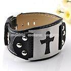 Steel Black Leather Belt Buckle Cross Bracelet Cuff Wristband