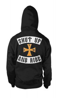Shut Up And Ride Biker Cross Chopper Motorcycle Rider Pullover Hoodie