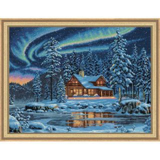Counted Cross Stitch Kit AURORA CABIN