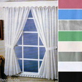 BONE (OFF WHITE) BATHROOM  SHOWER WINDOW CURTAIN ~ TIE BACKS & HOOKS