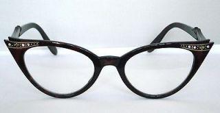 Lens Geek Faux Tortoiseshell Crystal Cat Eye Glasses Retro Rockabilly