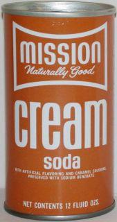 Old soda pop steel can MISSION CREAM SODA Naturally Good slogan n mint