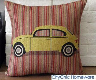 45cm x 30cm TBQC Vintage Retro Yellow Beatle Car Linen Cushion Cover