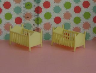 Baby Nursery Cribs Doll Dollhouse Miniture Marx Style Superior Toy