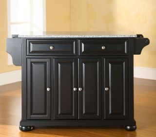 Kitchen Island/Buffet/​Solid Black GraniteTop White Finish Kitchen