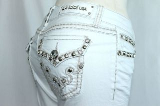 LA Idol Sexy Hot White Bootcut Jewel Tribal Tattoo Fleur De Lis Flap