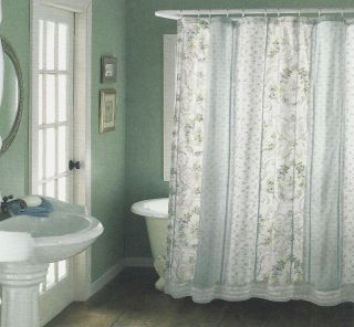 Chic Ruffled Floral Darcy 8P Blue Cotton Fabric Shower Curtain Set