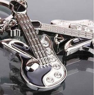 Novelty Korean style White Crystal guitar key ring chain keyfob chains