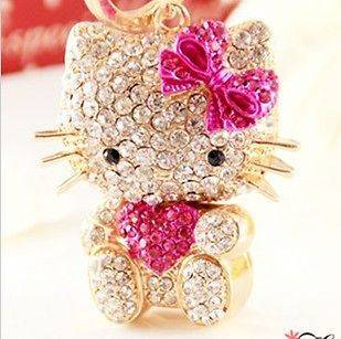 Pink Hello Kitty Fashion Cat Rhinestone Crystal Purse Bay Key Chain